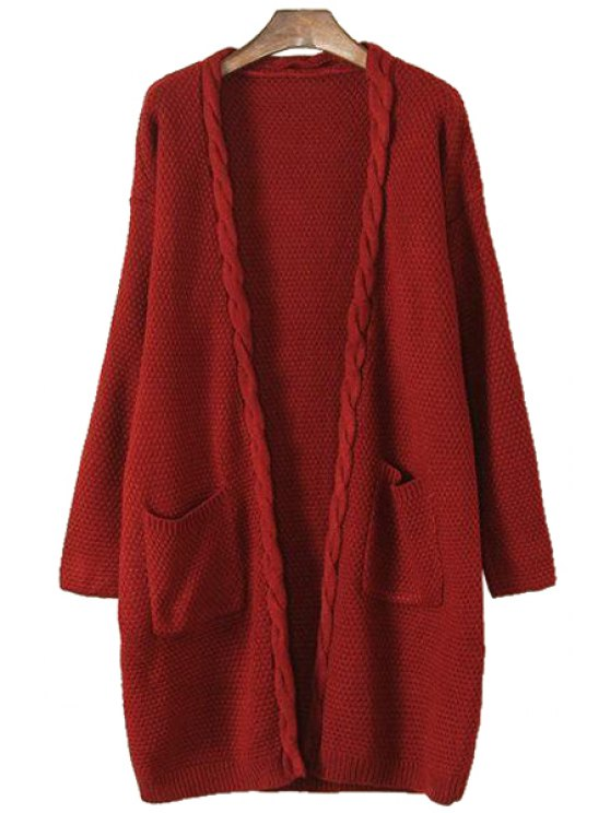 shop Plait Edging Pocket Long Sleeve Cardigan - RED ONE SIZE(FIT SIZE XS TO M)