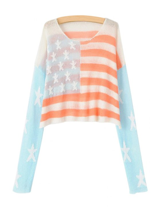 latest American Flag Long Sleeve Sweater - COLORMIX ONE SIZE(FIT SIZE XS TO M)