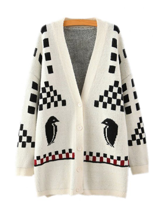 trendy Plaid Bird Pattern Long Sleeve Cardigan - WHITE ONE SIZE(FIT SIZE XS TO M)