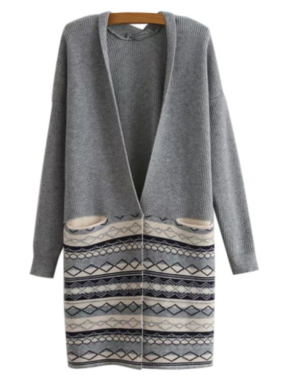 buy Plunging Neck Argyle Pattern Pocket Cardigan - GRAY ONE SIZE(FIT SIZE XS TO M)