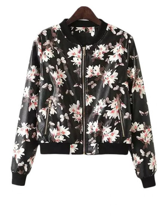 fashion Full Flower Print Stand Neck Dress - BLACK AND PINK S