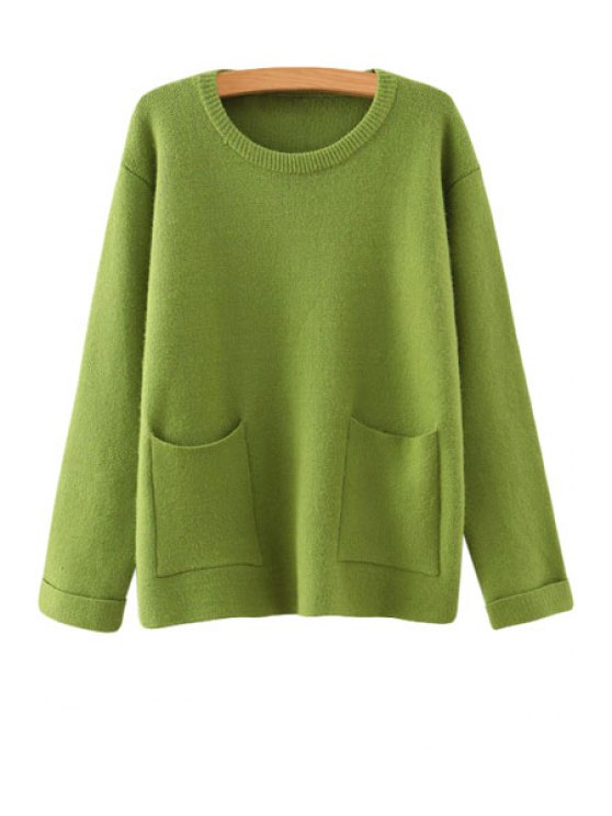 fashion Solid Color Long Sleeve Jewel Neck Sweater - GREEN ONE SIZE(FIT SIZE XS TO M)