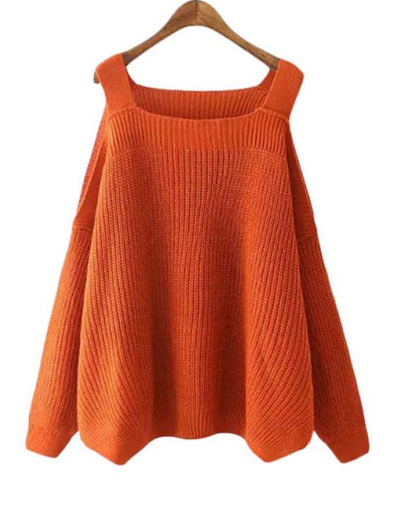 online Solid Color Square Neck Cut Out Sweater - JACINTH ONE SIZE(FIT SIZE XS TO M)