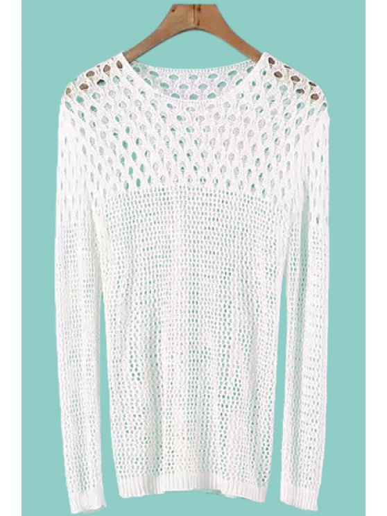 latest Openwork See-Through Long Sleeve Sweater - WHITE ONE SIZE(FIT SIZE XS TO M)