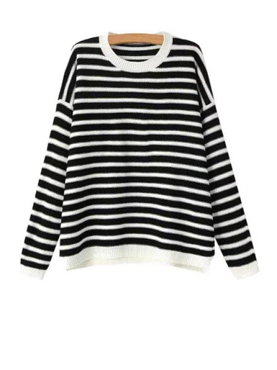 chic Striped Heart Pattern Long Sleeve Sweater - STRIPE S