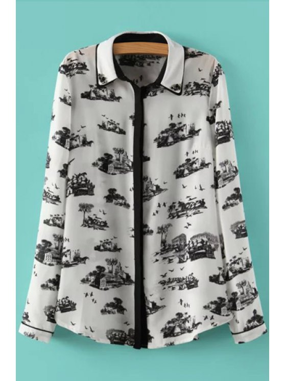 latest Ink Print Artificial Gem Long Sleeve Shirt - WHITE AND BLACK S