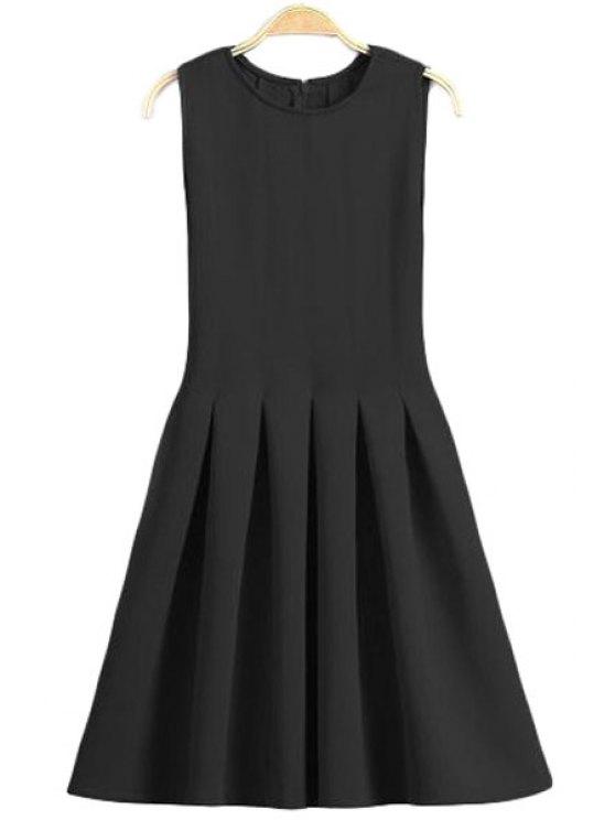 unique Solid Color Flare Jewel Neck Sundress - BLACK S