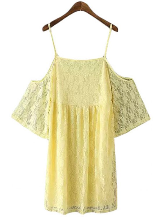 trendy Solid Color Cut Out Spaghetti Strap Lace Dress - YELLOW S