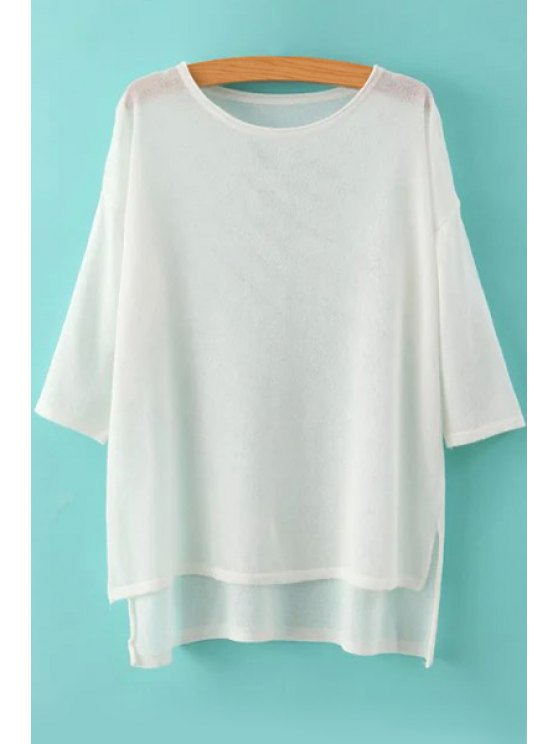 online High Low See-Through 3/4 Sleeve Sweater - WHITE ONE SIZE(FIT SIZE XS TO M)