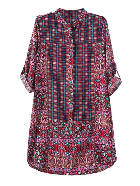 latest Plaid Print Stand Neck Long Sleeve Dress - AS THE PICTURE S