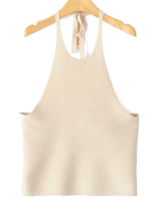 shop Solid Color Halter Backless Tank Top - KHAKI S