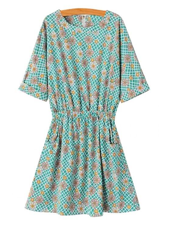 chic Flower Print Half Sleeve A Line Dress - GREEN S
