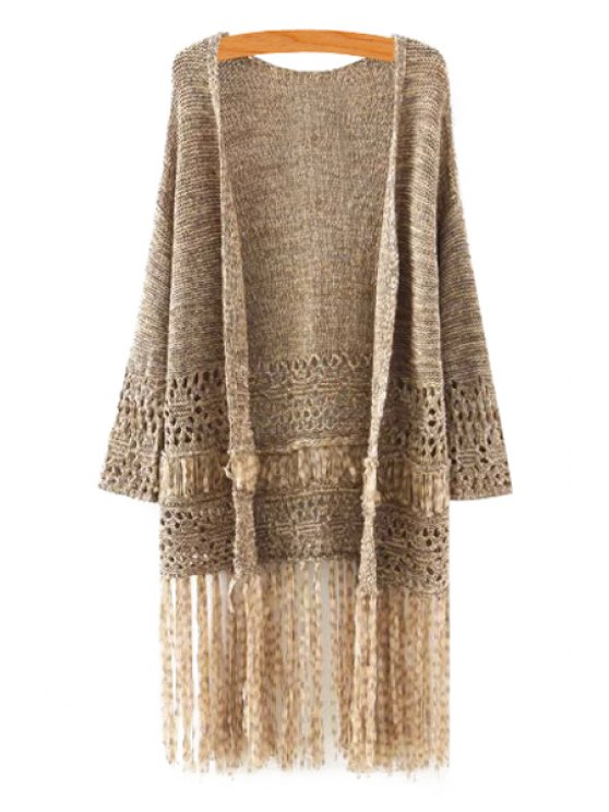 women's Openwork Fringe Long Sleeve Cardigan - AS THE PICTURE S
