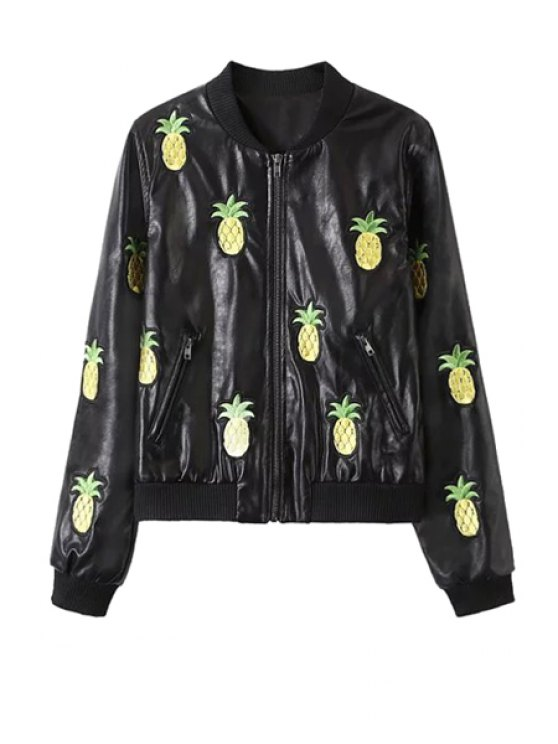 buy Pineapple Embroidery PU Leather Long Sleeve Coat - BLACK S