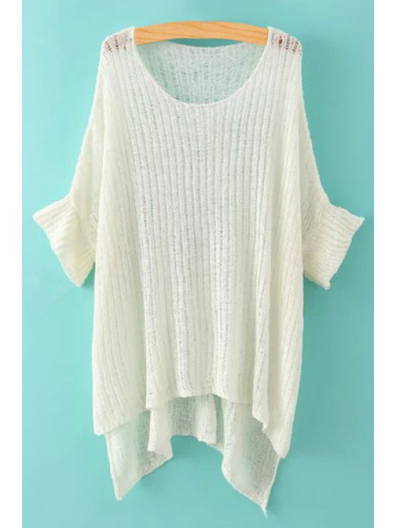 trendy See-Through High Low 3/4 Sleeve Sweater - WHITE ONE SIZE(FIT SIZE XS TO M)