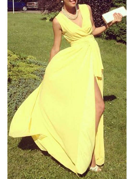 buy Solid Color Deep V Neck High Slit Maxi Dress - YELLOW S