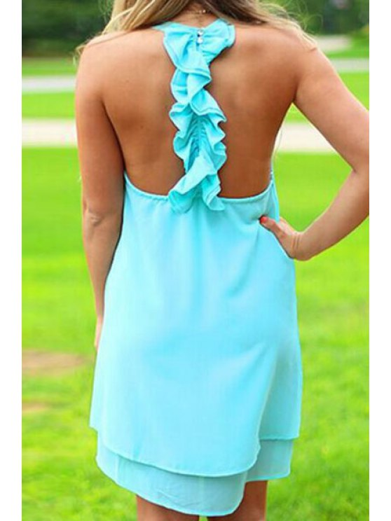 trendy Solid Color Layered Ruffles Chiffon Dress - BLUE S