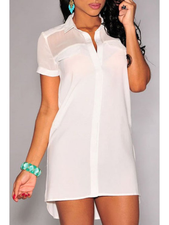 lady High Low See-Through Short Sleeve Dress - WHITE M