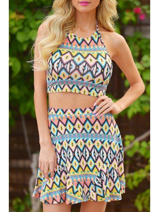 outfits Halter Open Back Crop Top + Argyle Print Skirt Twinset - COLORMIX S