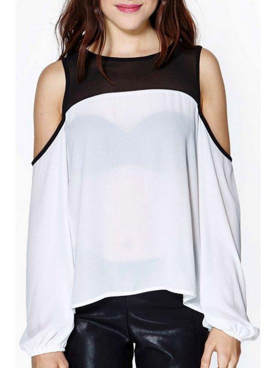 women's Color Block Cut Out Chiffon Blouse - WHITE S