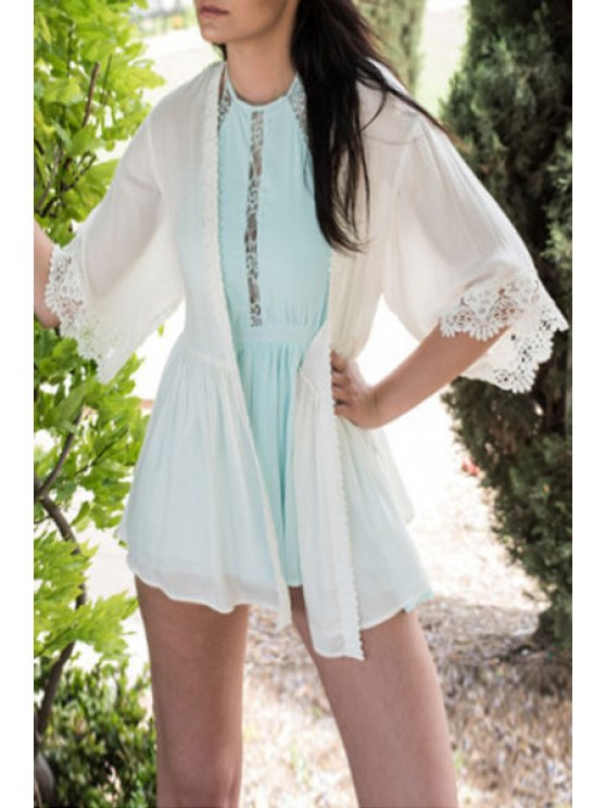 online Lace Spliced White Sunscreen Blouse - WHITE S