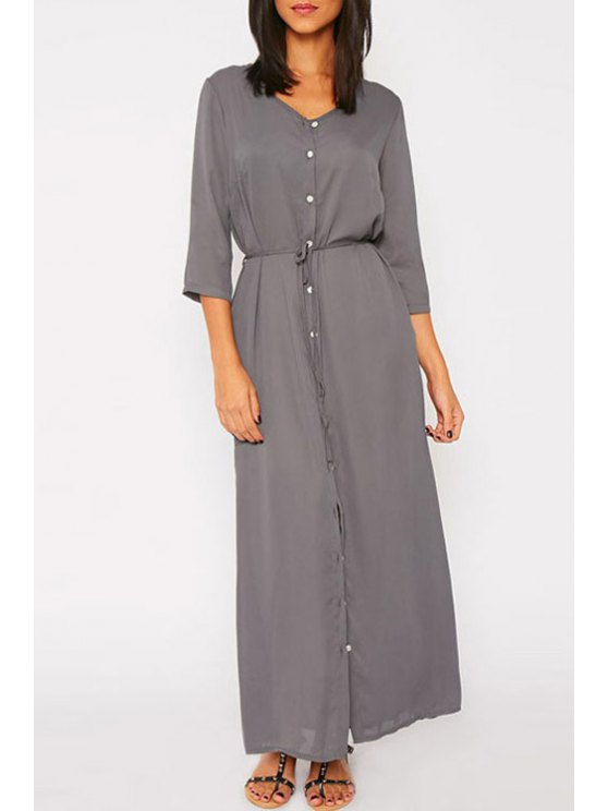 shop Button Fly Tie-Up 3/4 Sleeve Dress - GRAY ONE SIZE(FIT SIZE XS TO M)
