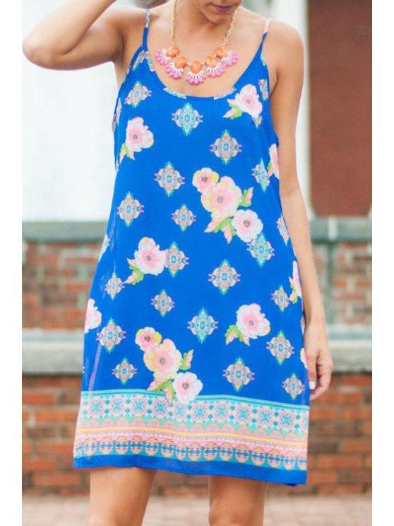 lady Floral Open BackSpaghetti Strap  Dress - BLUE S
