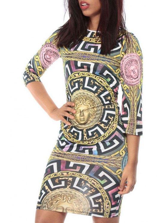 women Figure Geometric Pattern 3/4 Sleeve Dress - COLORMIX M