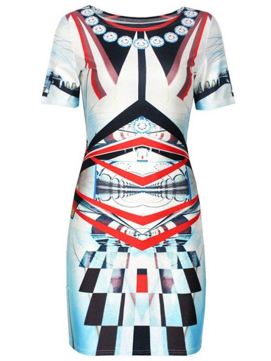 online Geometric Print Color Block Short Sleeve Dress - COLORMIX M