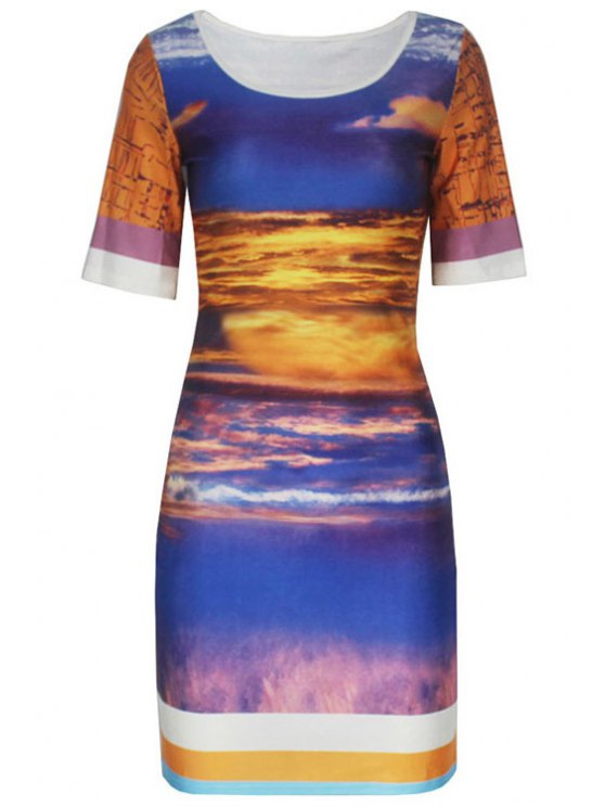 outfit Scoop Neck Color Block Printed Dress - AS THE PICTURE M
