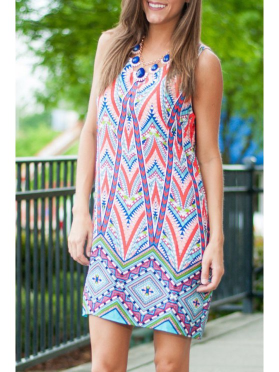 ladies Geometric Print V Neck Sleeveless Dress - COLORMIX M
