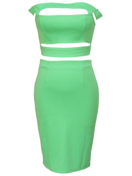 unique Hollow Out Zipper Crop Top + Solid Color Skirt - GREEN ONE SIZE(FIT SIZE XS TO M)