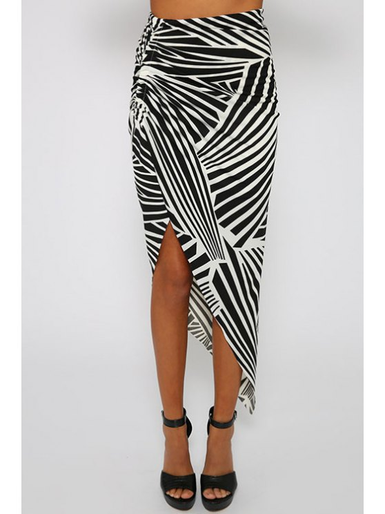chic Print High Waisted Irregular Hem Skirt - WHITE AND BLACK S
