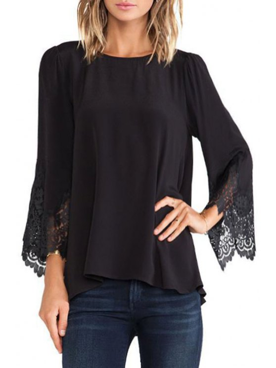 women's Lace Splice Flare Sleeve Blouse - BLACK S