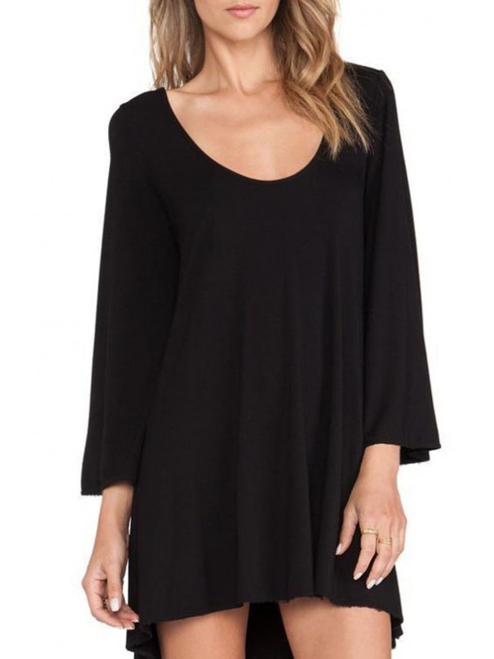 latest Solid Color Flare Sleeve Backless Dress - BLACK XS