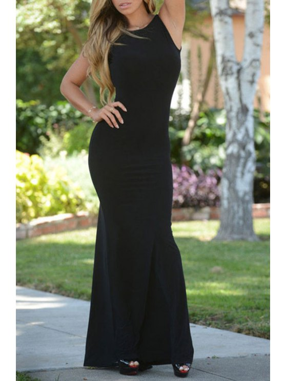 shops Backless See-Through Sleeveless Dress - BLACK ONE SIZE(FIT SIZE XS TO M)