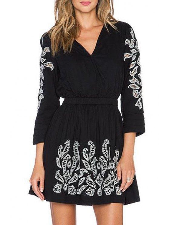 fancy Embroidery V Neck 3/4 Sleeve Dress - BLACK XS