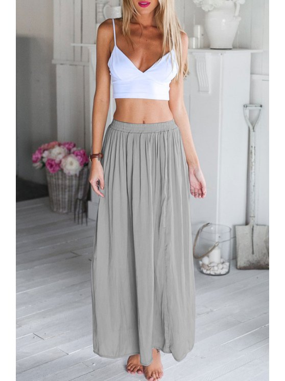 chic White Spaghetti Strap Crop Top and Gray Skirt Suit - GRAY S