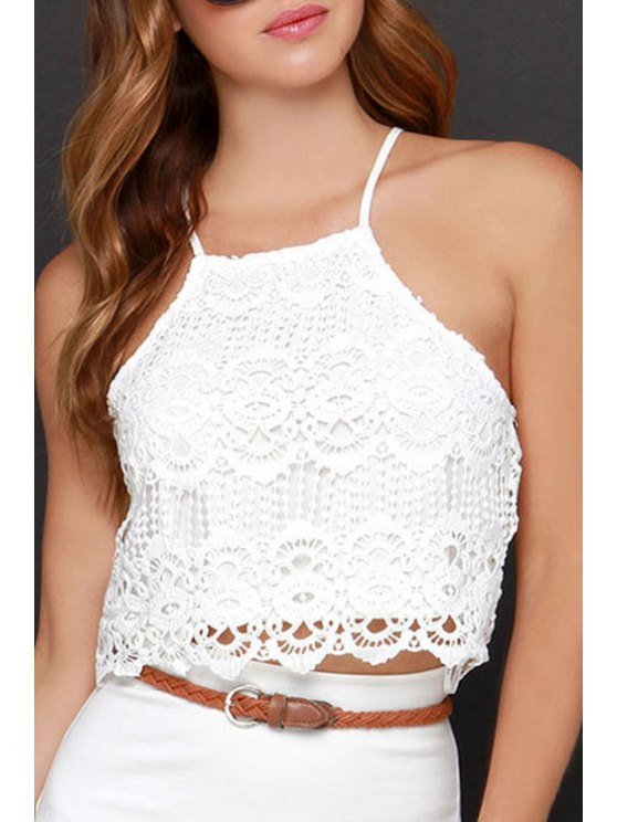 fancy Spaghetti Strap Lace Openwork Sleeveless Tank Top - WHITE ONE SIZE(FIT SIZE XS TO M)