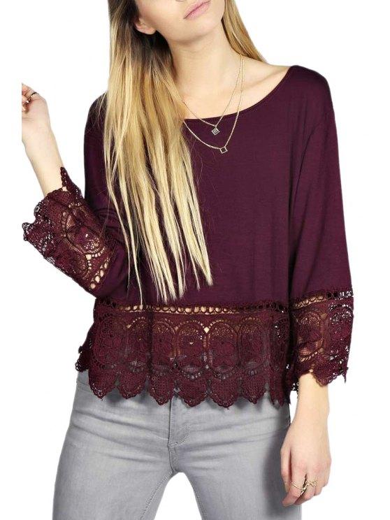 women's Crochet Spliced Nine-Minute Sleeve T-Shirt - WINE RED S