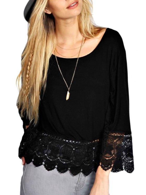 sale Crochet Spliced Nine-Minute Sleeve T-Shirt - BLACK XL