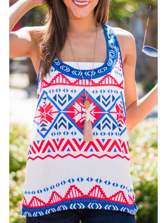 trendy Scoop Neck Tribal Print Tank Top - AS THE PICTURE S