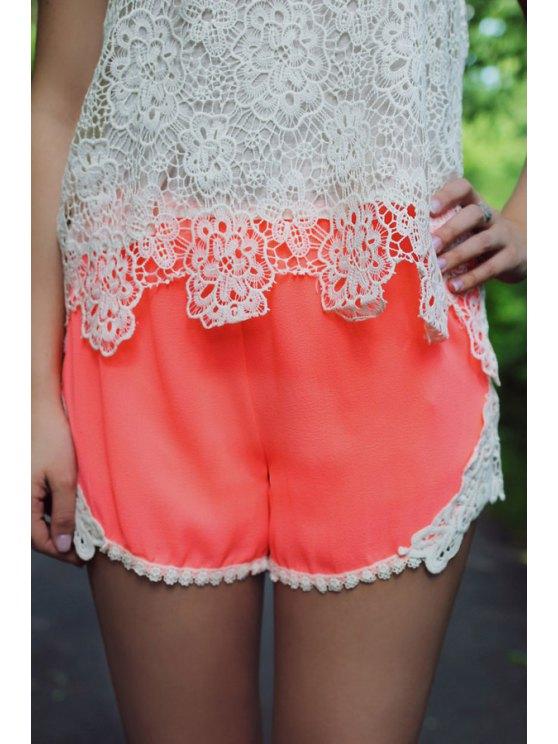 fashion Lace Spliced Elastic Waist Shorts - PINK S