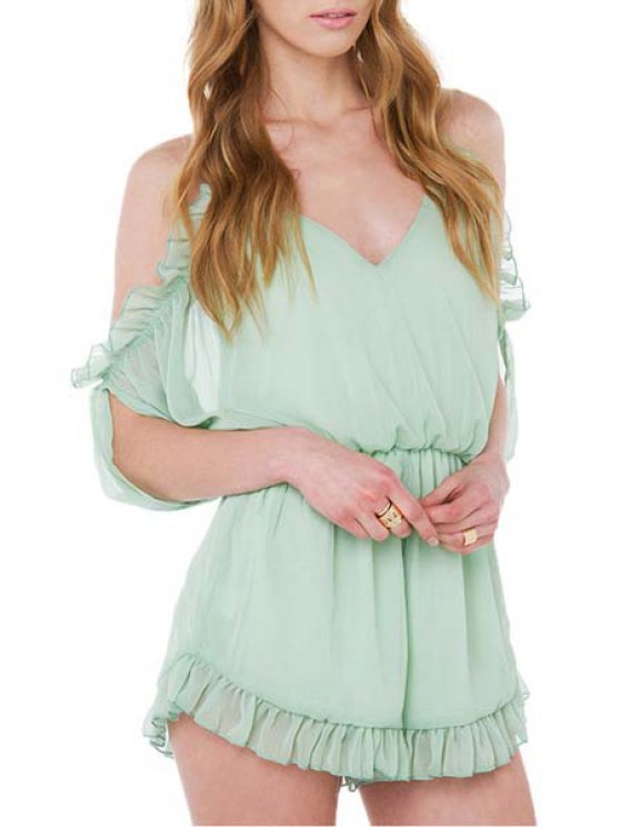 buy Spaghetti Strap Backless Tie-Up Flounce Romper - LIGHT GREEN S