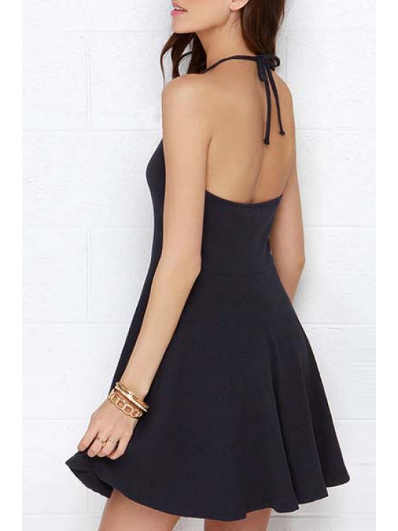 outfits Halter Neck Solid Color Backless Dress - DEEP BLUE S
