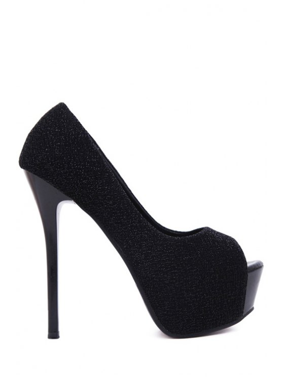 affordable Platform Bling Bling Peep Toe Shoes - BLACK 34