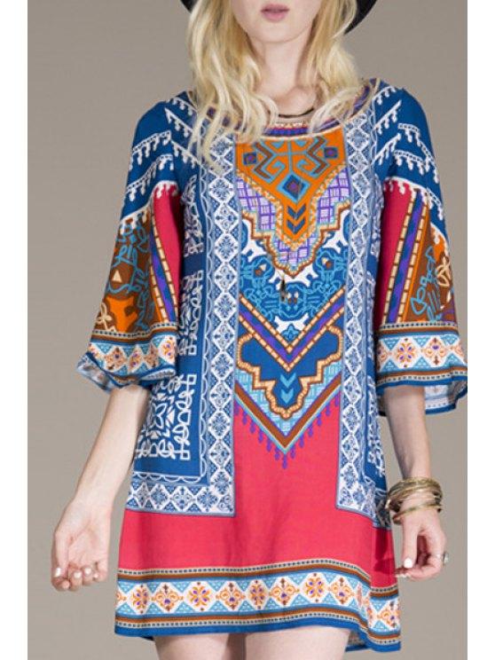 womens Flare Sleeve Ethnic Pattern Mini Dress - BLUE S