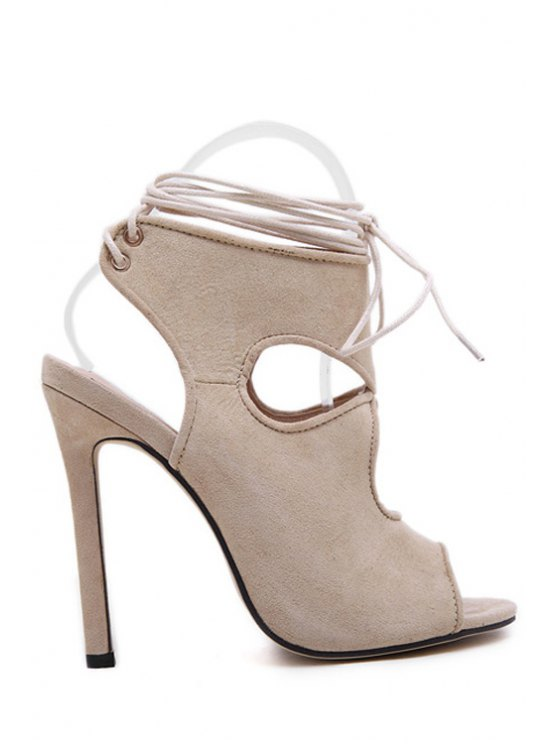 best Suede Hollow Out Peep-Toe Sandals - APRICOT 35