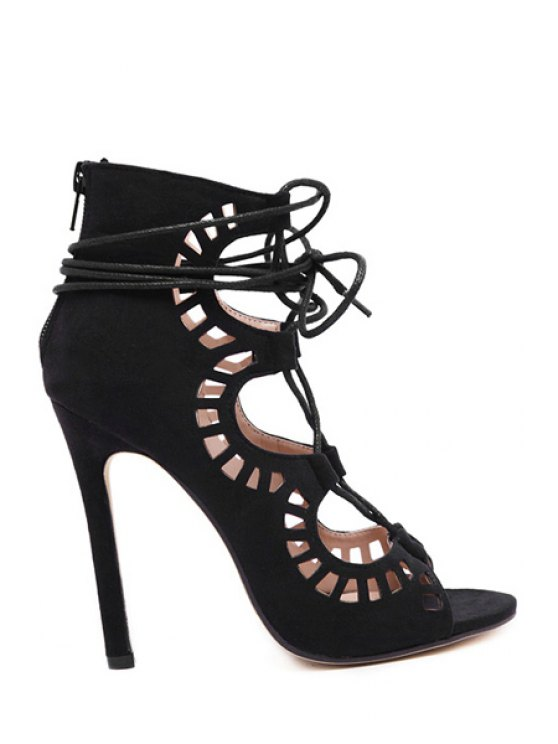 online Hollow Out Suede Stiletto Heel Sandals - BLACK 40