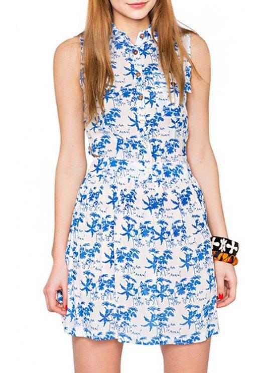 best Turn-Down Collar Tiny Floral Print Dress - BLUE S